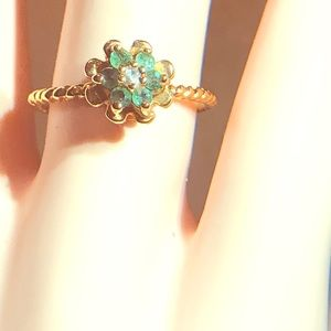 Rare Vintage 60's Emerald Tulip Ring/Rope Band! 7